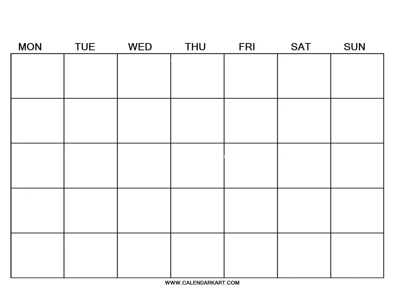10 Free Printable Blank Calendar Templates {Fillable Pdf Free Calendar Grid Template