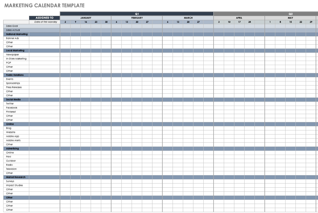 15+ Free Marketing Calendar Templates | Smartsheet Calendar Template Excel Free