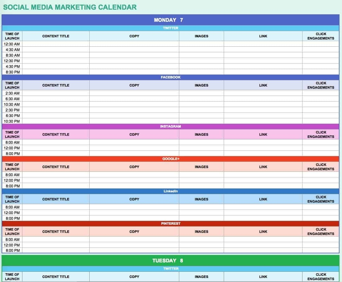 15+ Free Marketing Calendar Templates | Smartsheet Content Calendar Template Google Docs