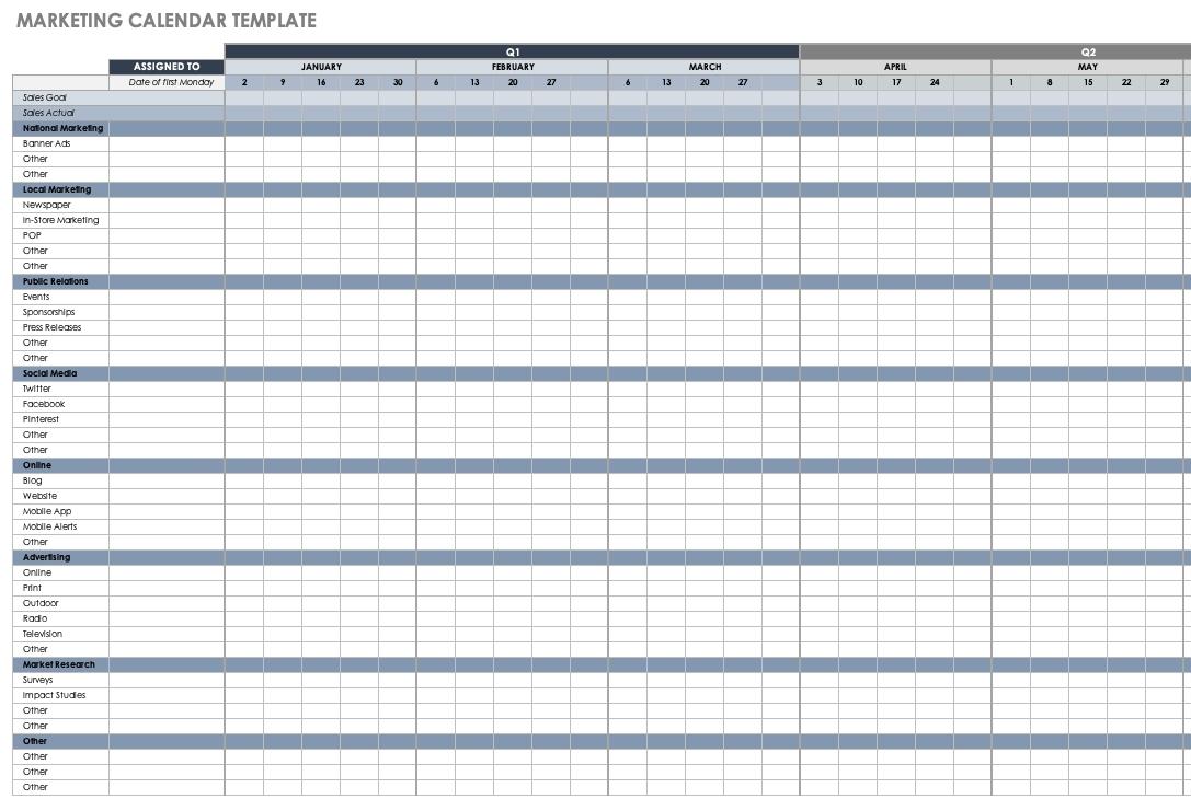 15+ Free Marketing Calendar Templates   Smartsheet Excel Calendar Template Quarterly