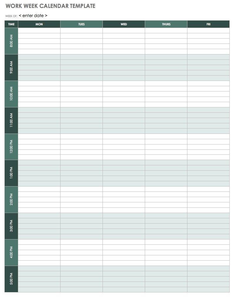 15 Free Weekly Calendar Templates   Smartsheet Calendar Template Work Week