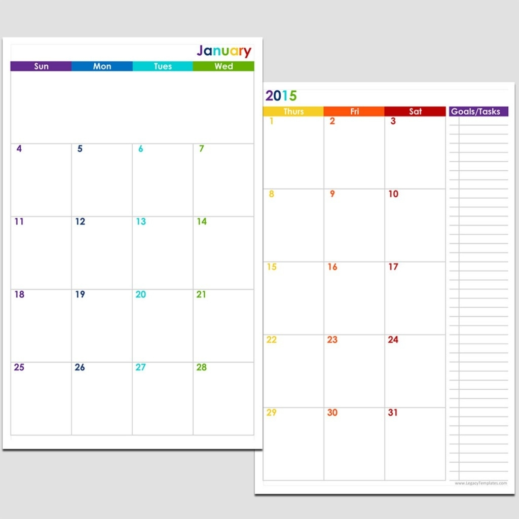2015 12-Month 2 Page Calendar - Half Size | Legacy Templates Calendar Template 8.5 X 5.5