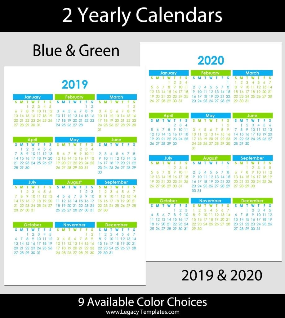 2019 & 2020 Yearly Calendar – 5.5 X 8.5 | Legacy Templates Calendar Template 5.5 X 8.5