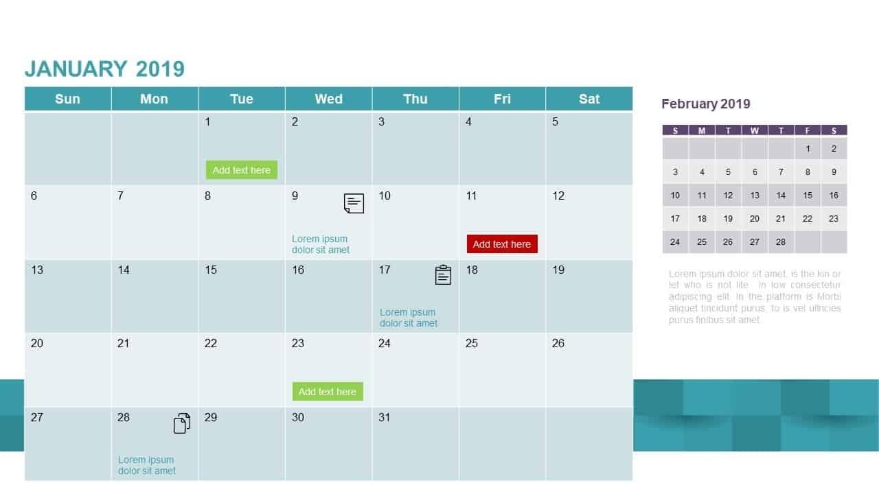 2019 Calendar Powerpoint Template & Keynote - Slidebazaar Free Keynote Calendar Template