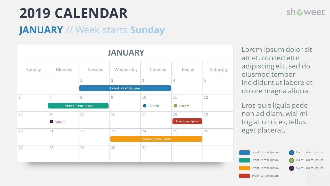 2019 Calendar Powerpoint Templates Quarterly Calendar Template Powerpoint