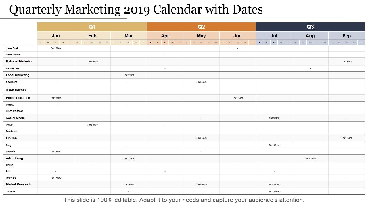 2019 Calendar Template: 13 Powerpoint Calendar Templates Quarterly Calendar Template Powerpoint