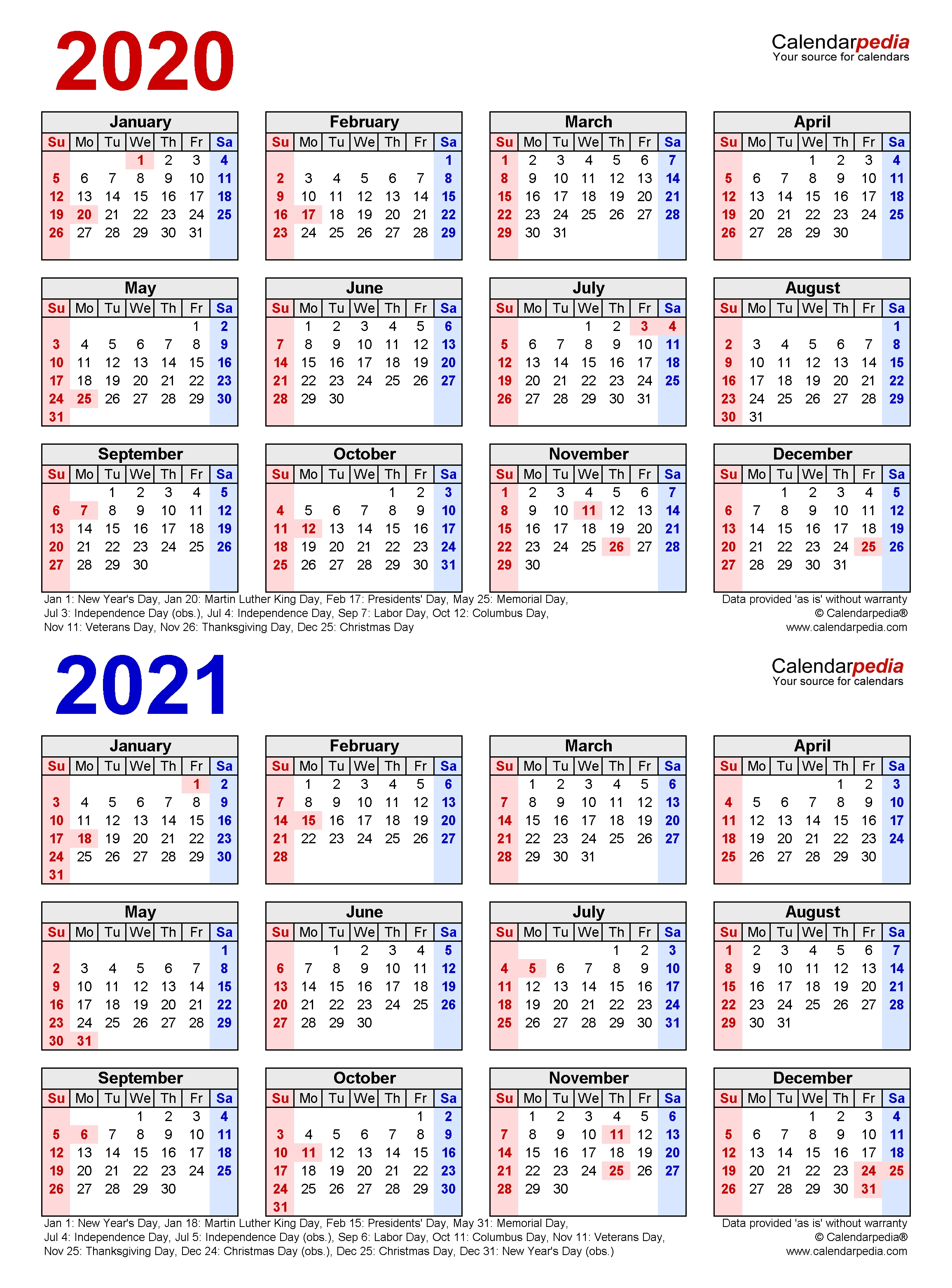 2020-2021 Two Year Calendar - Free Printable Excel Templates 2 Year Calendar Template Excel