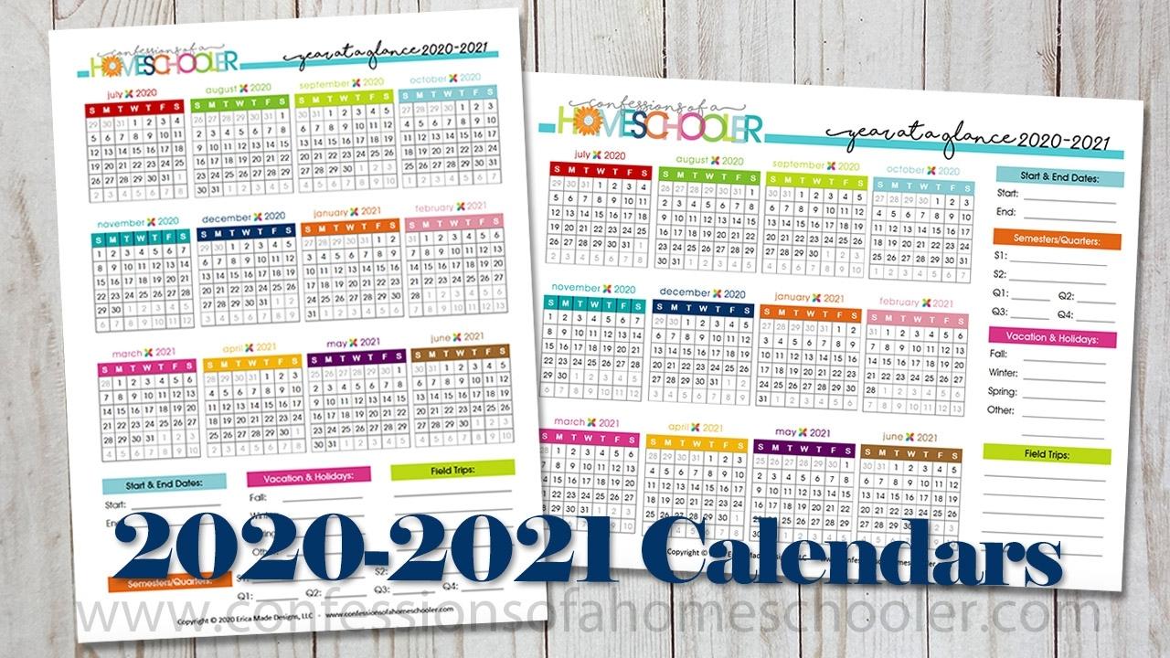 2020-2021 Year At A Glance Printable Calendars - Confessions Calendar Template Year At A Glance