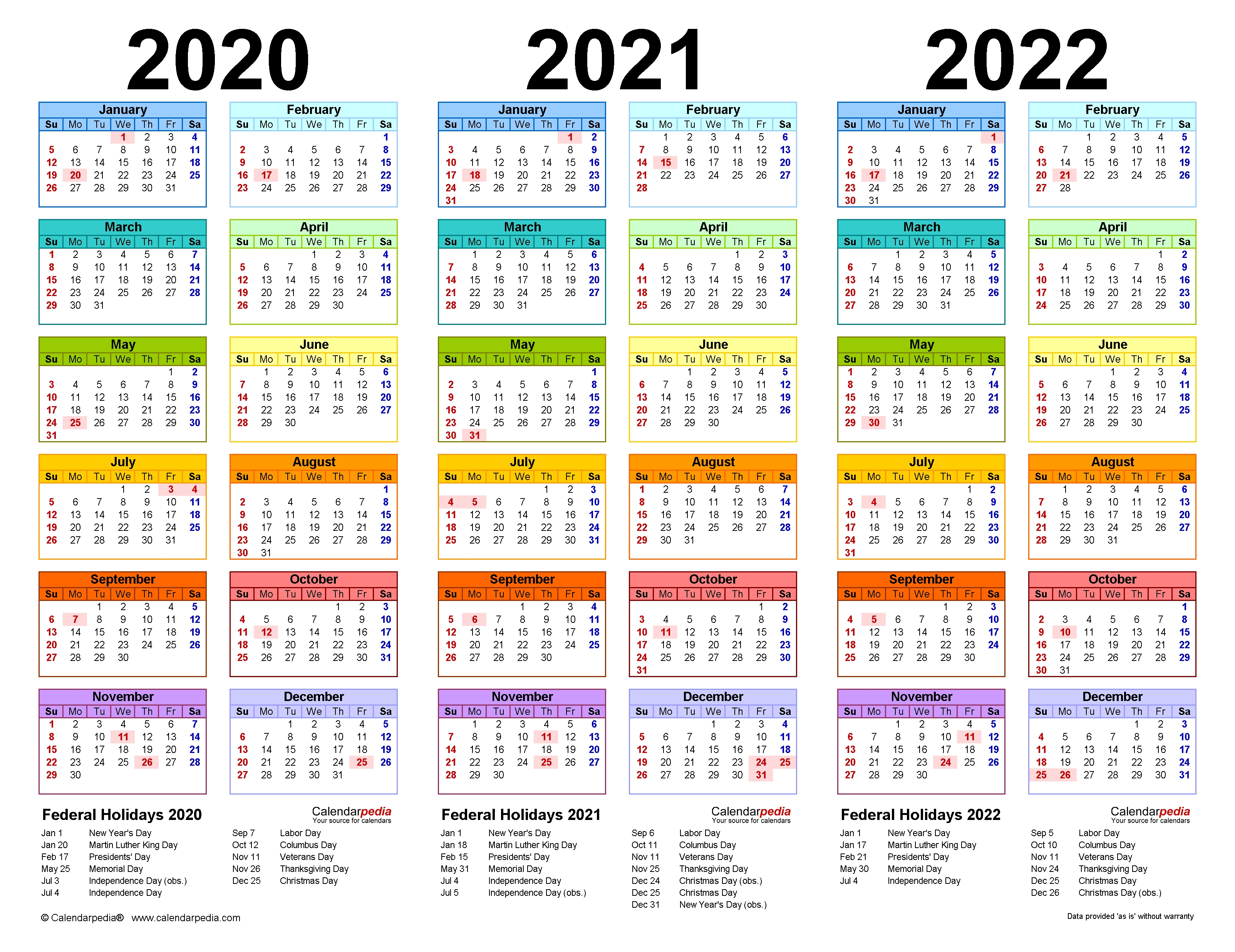 2020-2022 Three Year Calendar - Free Printable Excel Templates 2 Year Calendar Template Excel