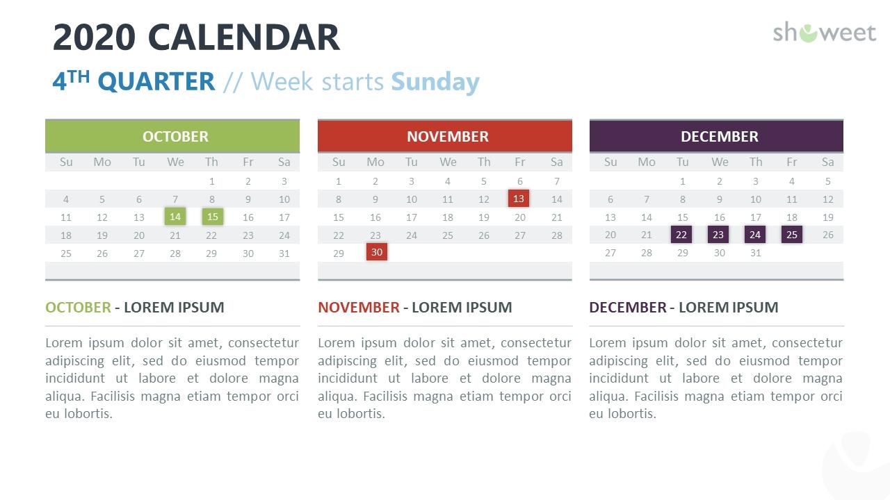 2020 Calendar For Powerpoint And Google Slides - Showeet Quarterly Calendar Template Powerpoint