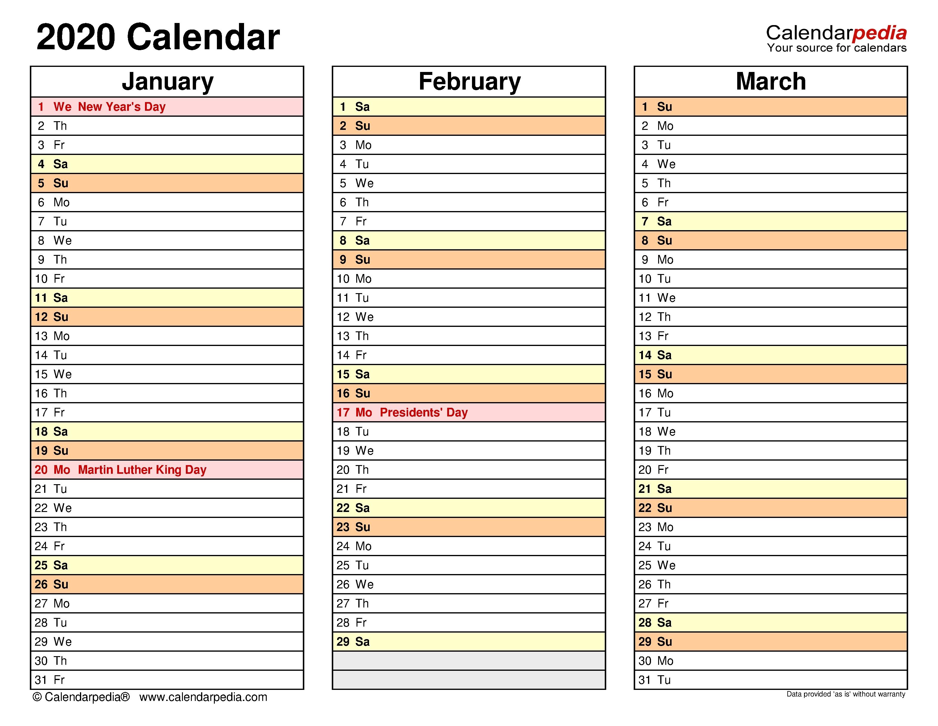 2020 Calendar - Free Printable Excel Templates - Calendarpedia Excel Calendar Template Quarterly