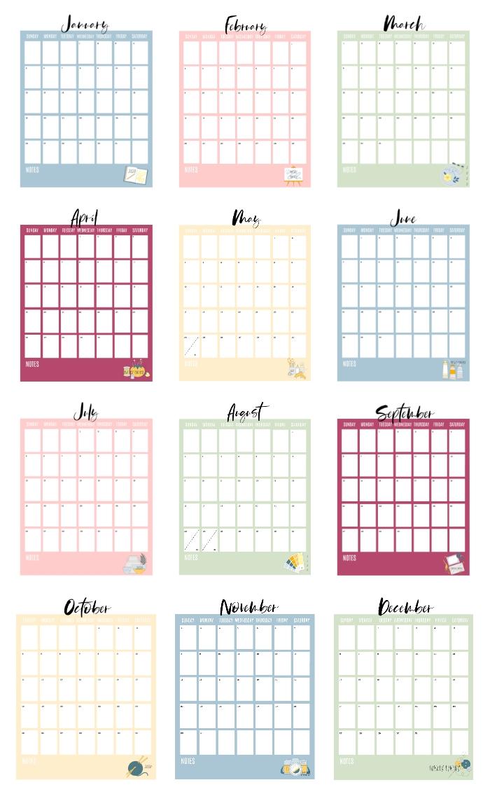 2020 Printable Calendar Pages (Free!) - Gluesticks Blog 3-Ring Binder Calendar Template