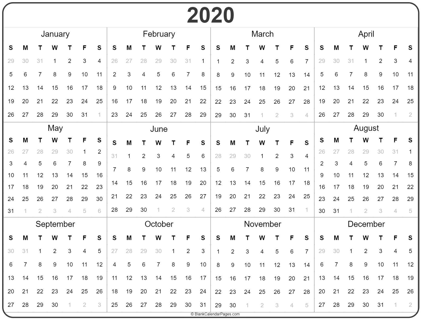 2020 Year Calendar   Yearly Printable Year Long Calendar Template