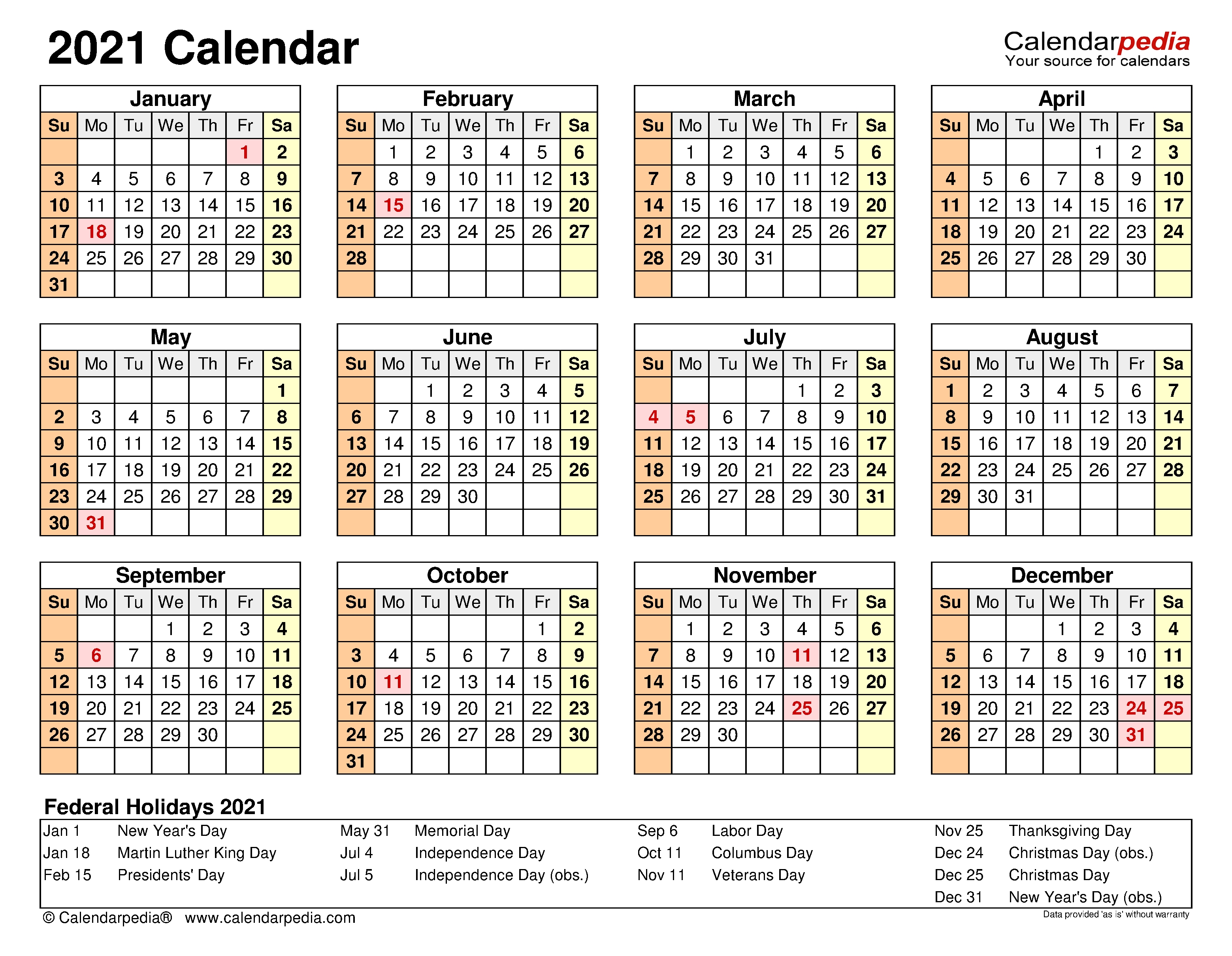 2021 Calendar - Free Printable Excel Templates - Calendarpedia Excel Yearly Calendar 2021