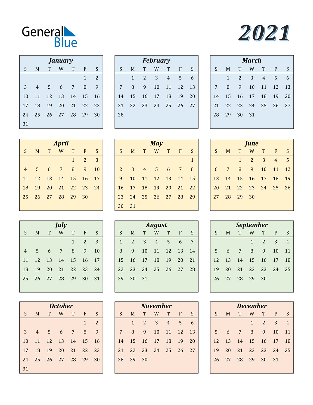 2021 Calendar (Pdf, Word, Excel) Excel Yearly Calendar 2021