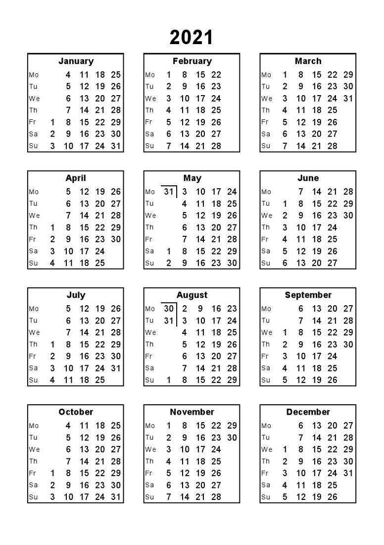 2021 Calendar Print Out Full Months – Delightful For You To Printable 3 Months At A Time Calendar 2021