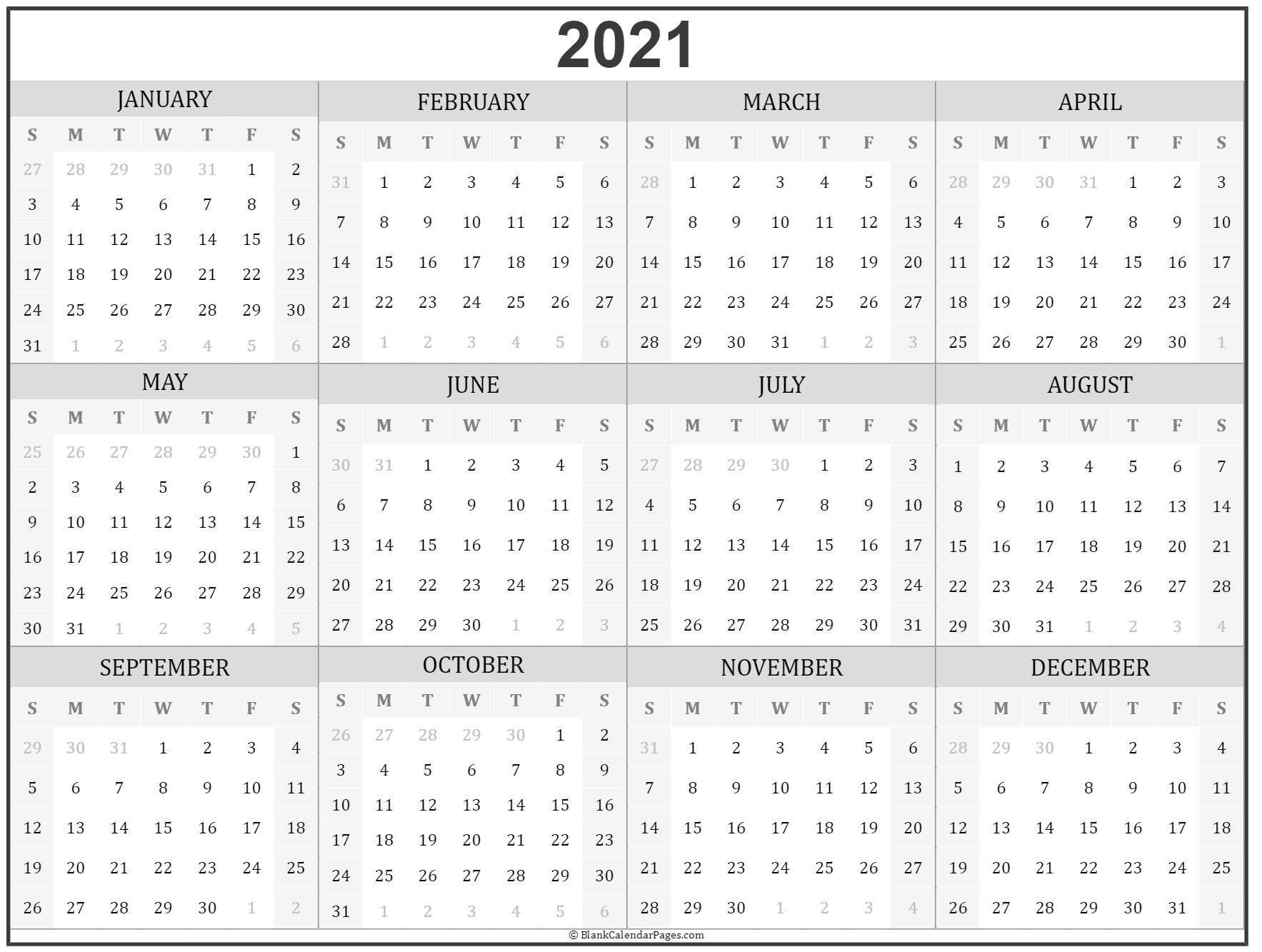2021 Year Calendar 2021 Year Calendar 2021 Year Calendar Printable 3 Months At A Time Calendar 2021