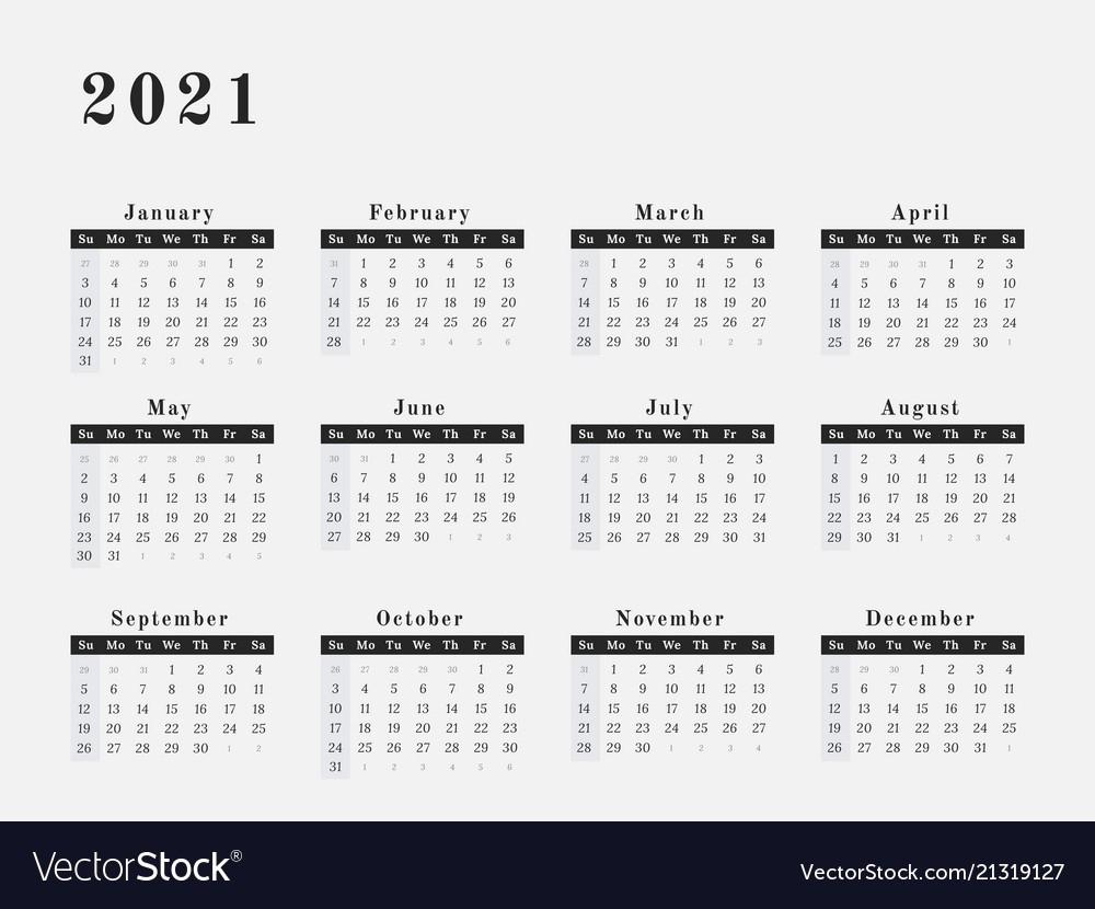 2021 Yearly Calendar Printable Horizontal   Free Printable Print 2021 Broadcast Calendar