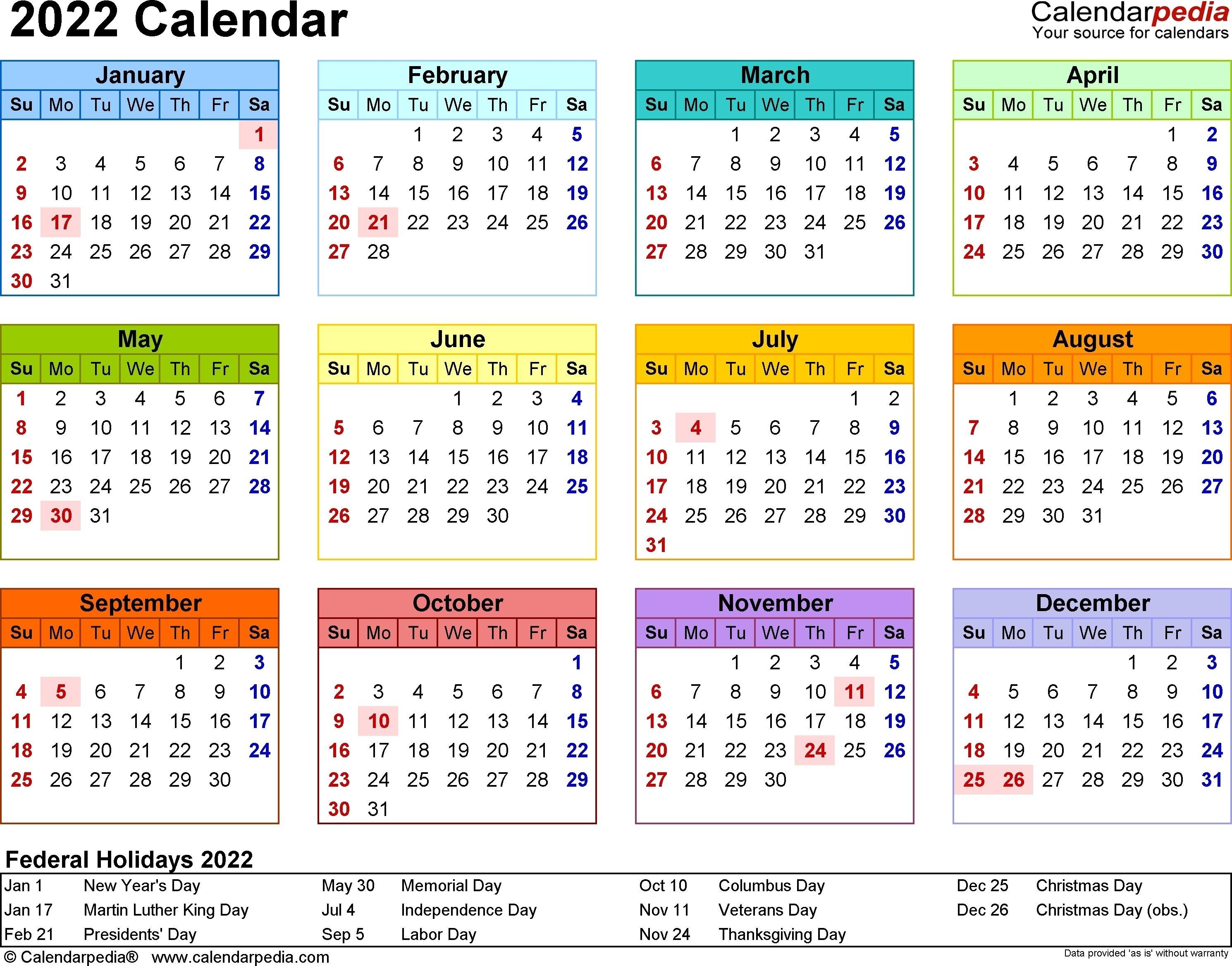2022 Calendar - 17 Free Printable Word Calendar Templates Year Long Calendar Template