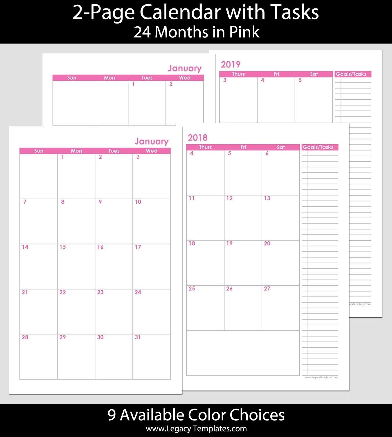 5.5 X 8.5 Planner Template Luxury 2018 & 2019 24 Months 2 Calendar Template 5.5 X 8.5