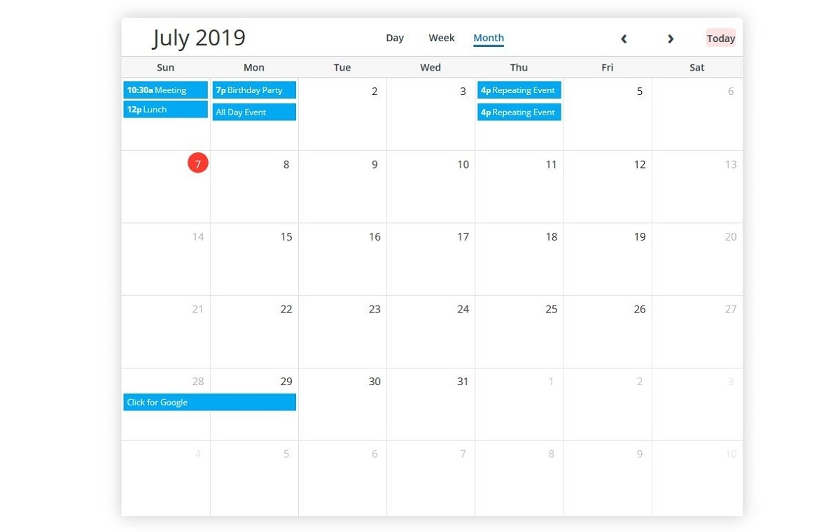 5 Best Free Bootstrap Calendars 2019 - Colorlib Free Calendar Event Template