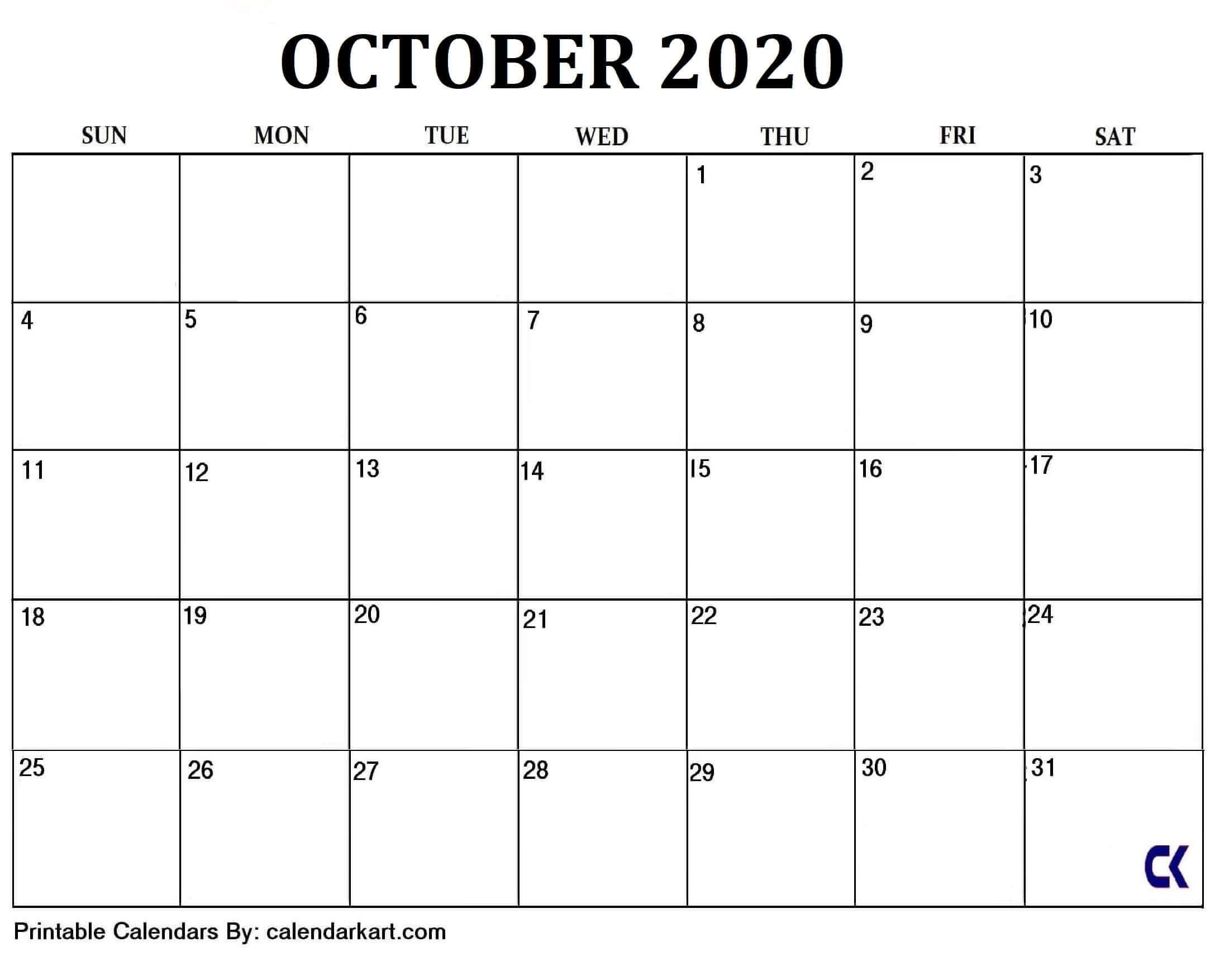 6 Cute And Elegant Free Printable October 2020 Calendar Free Calendar Grid Template