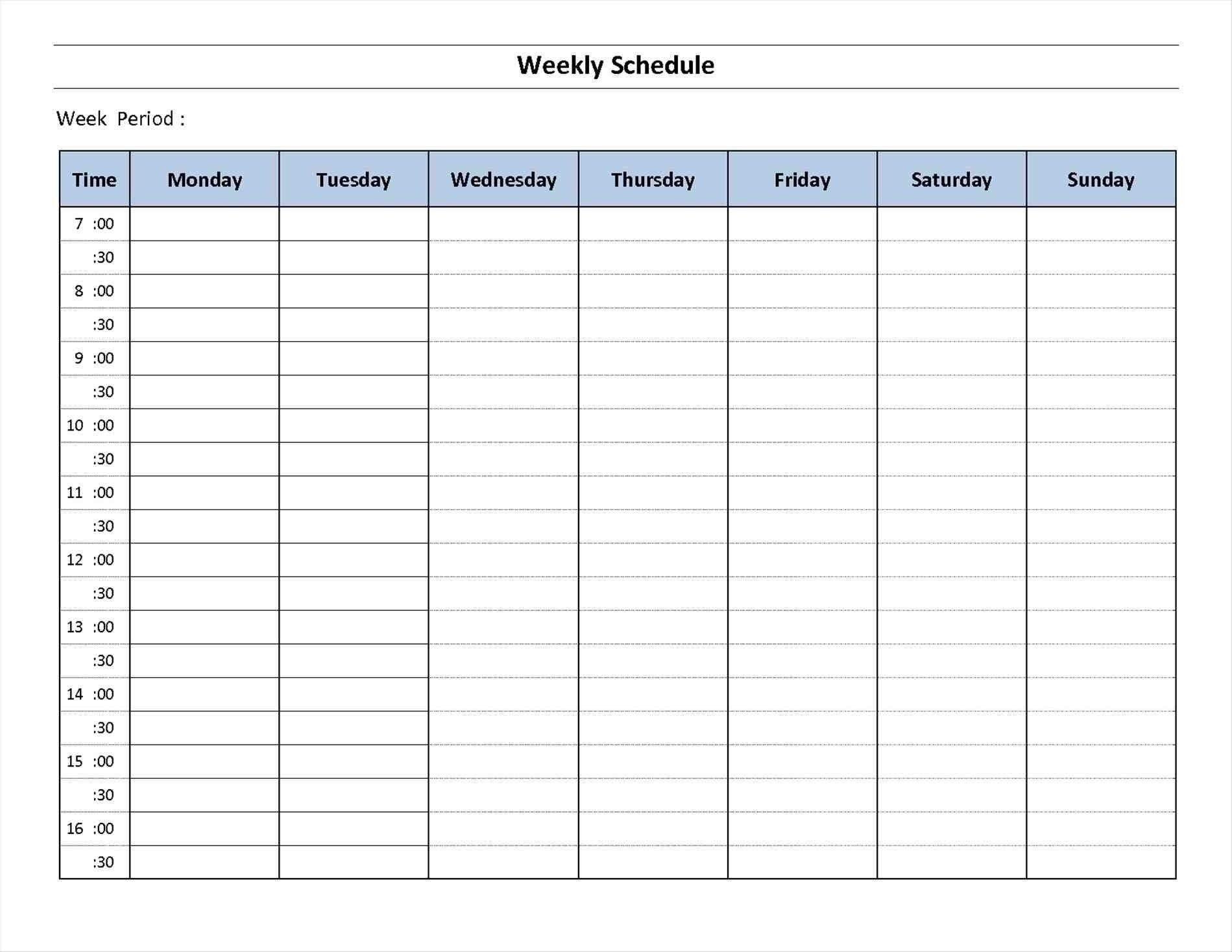 7 Day Week Calendar Printable   Template Calendar Printable 7 Day A Week Calendar Template