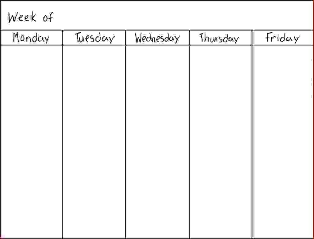7 Day Weekly Schedule Template Physicminimalisticsco 7 Day 7 Day Week Calendar Template
