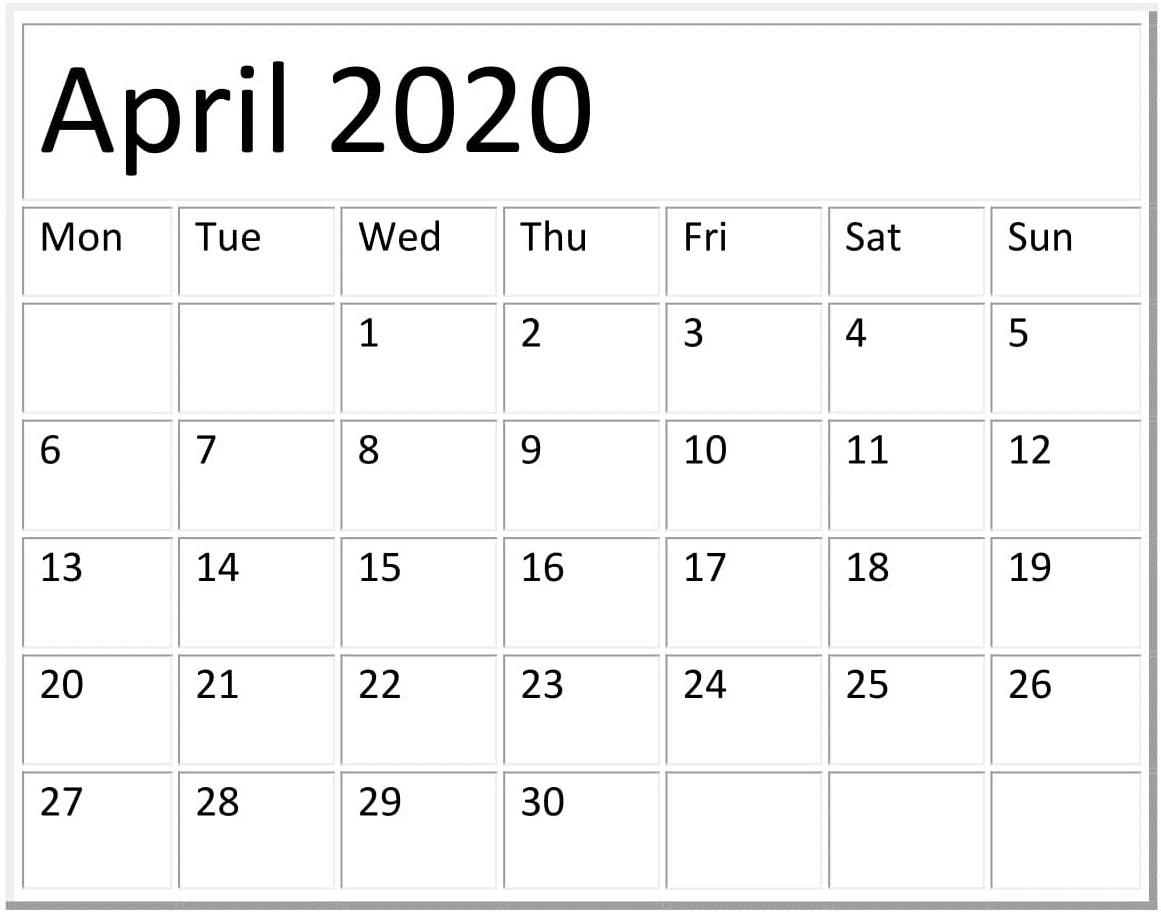 April 2020 Calendar Template Pages Free Download Calendar Template In Pages