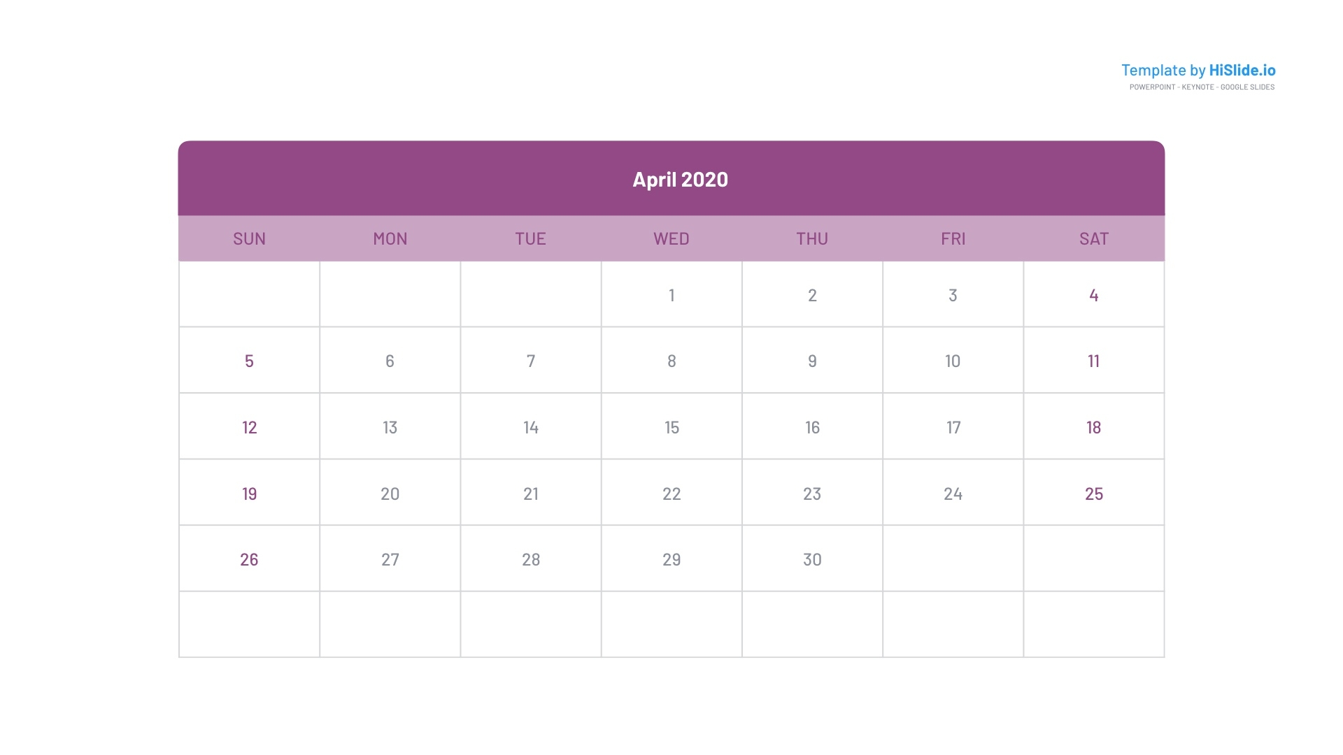 April 2020 Calendar Templates For Keynote Mac Free Keynote Calendar Template