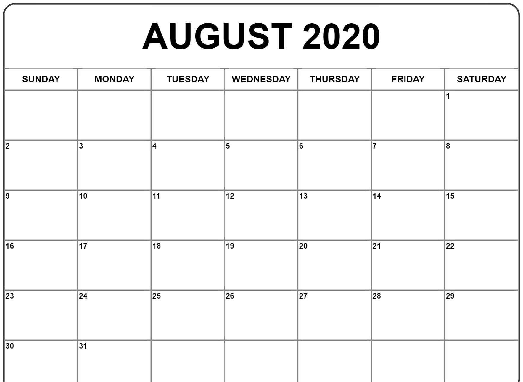 August 2020 Calendar Template In 2020   Calendar Template Calendar Template Editable Free