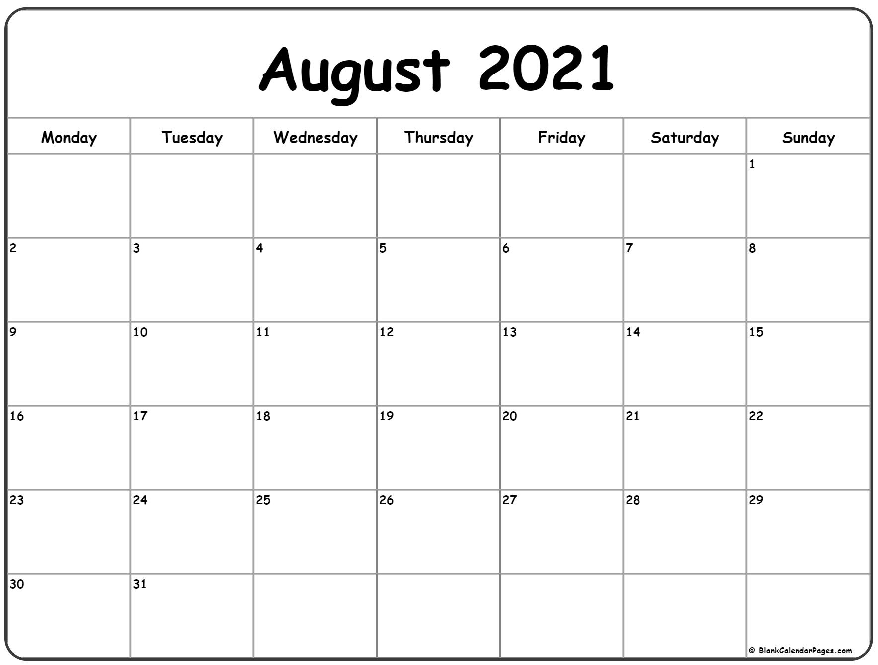 August 2021 Monday Calendar | Monday To Sunday August 2021 Calendar Print