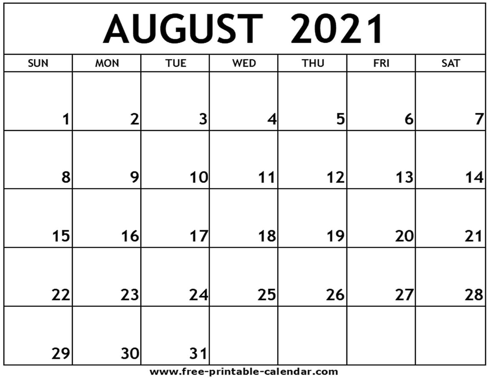 August 2021 Printable Calendar - Free-Printable-Calendar August 2021 Calendar Print