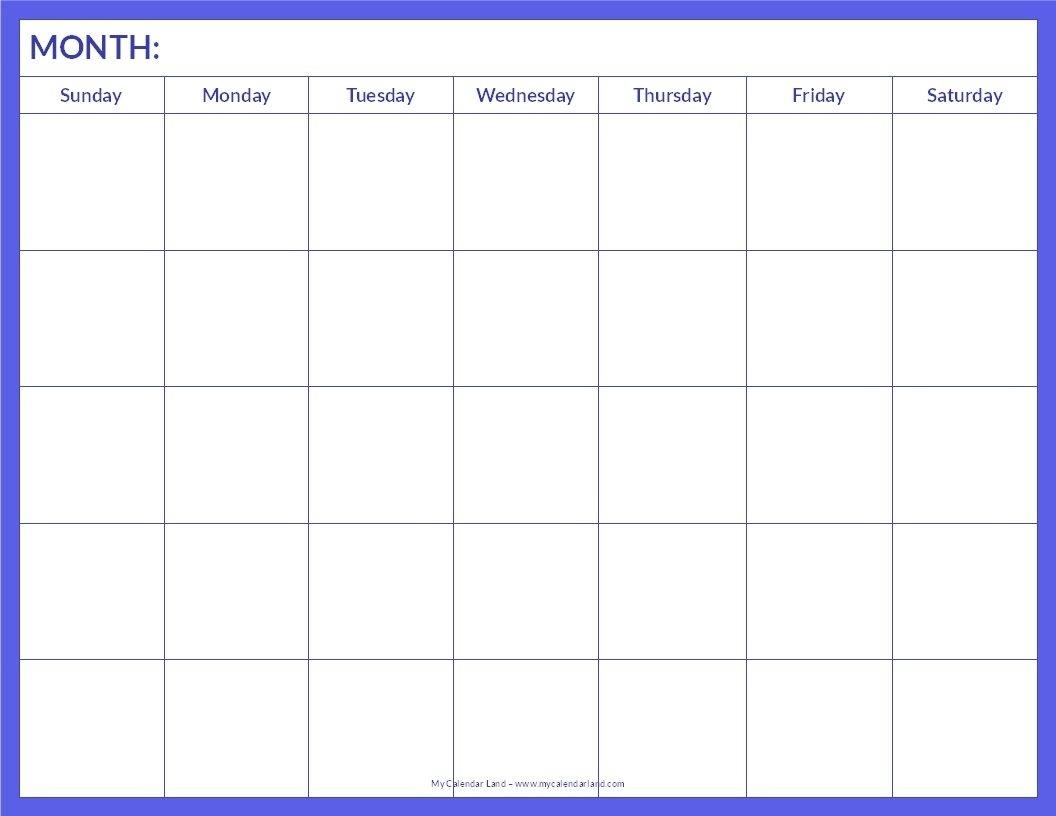 Blank Calendar Printable My Calendar Land   Blank Calendar Calendar Template In Pages
