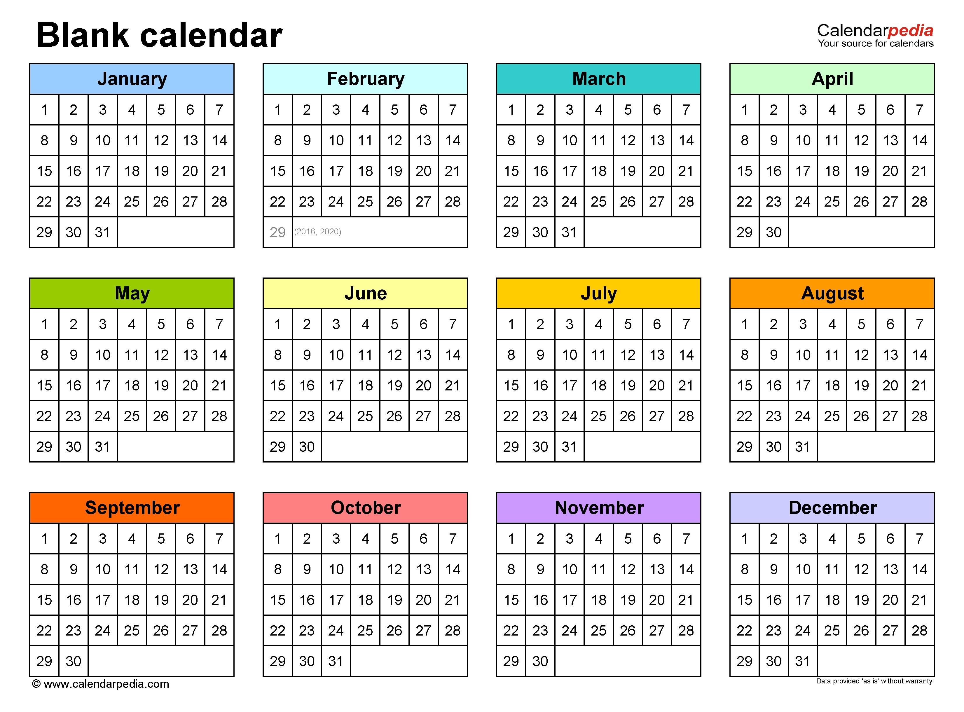 Blank Calendars - Free Printable Microsoft Word Templates Year Long Calendar Template