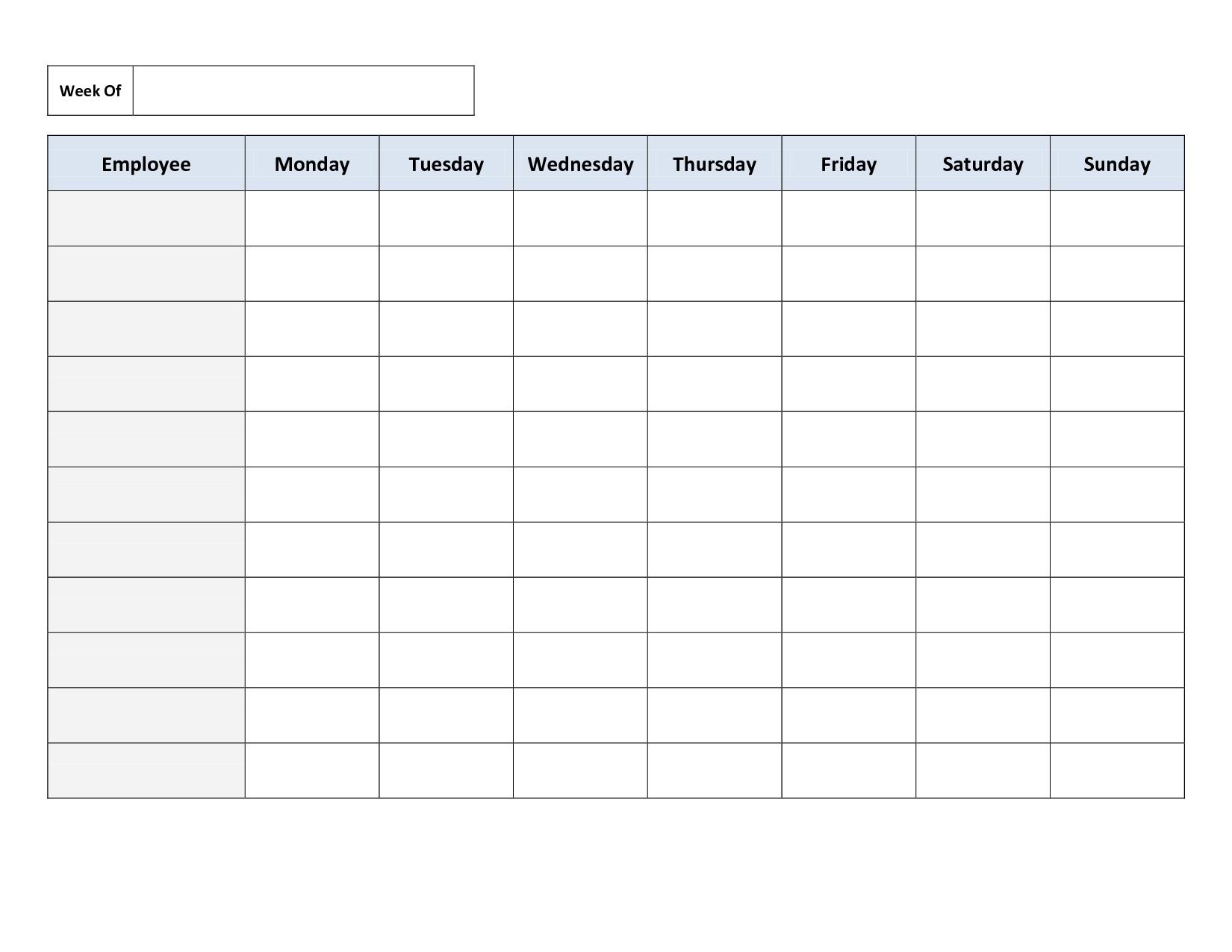 Blank Weekly Work Schedule Template   Timetable Template Calendar Template Work Week