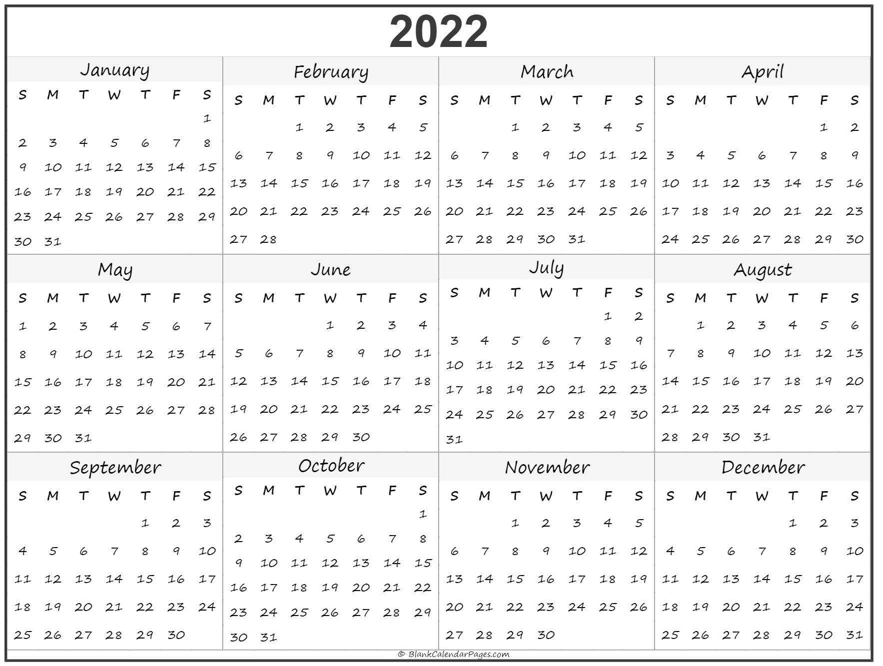 Blank Year Long Calendar 2022 Di 2020 Year Long Calendar Template