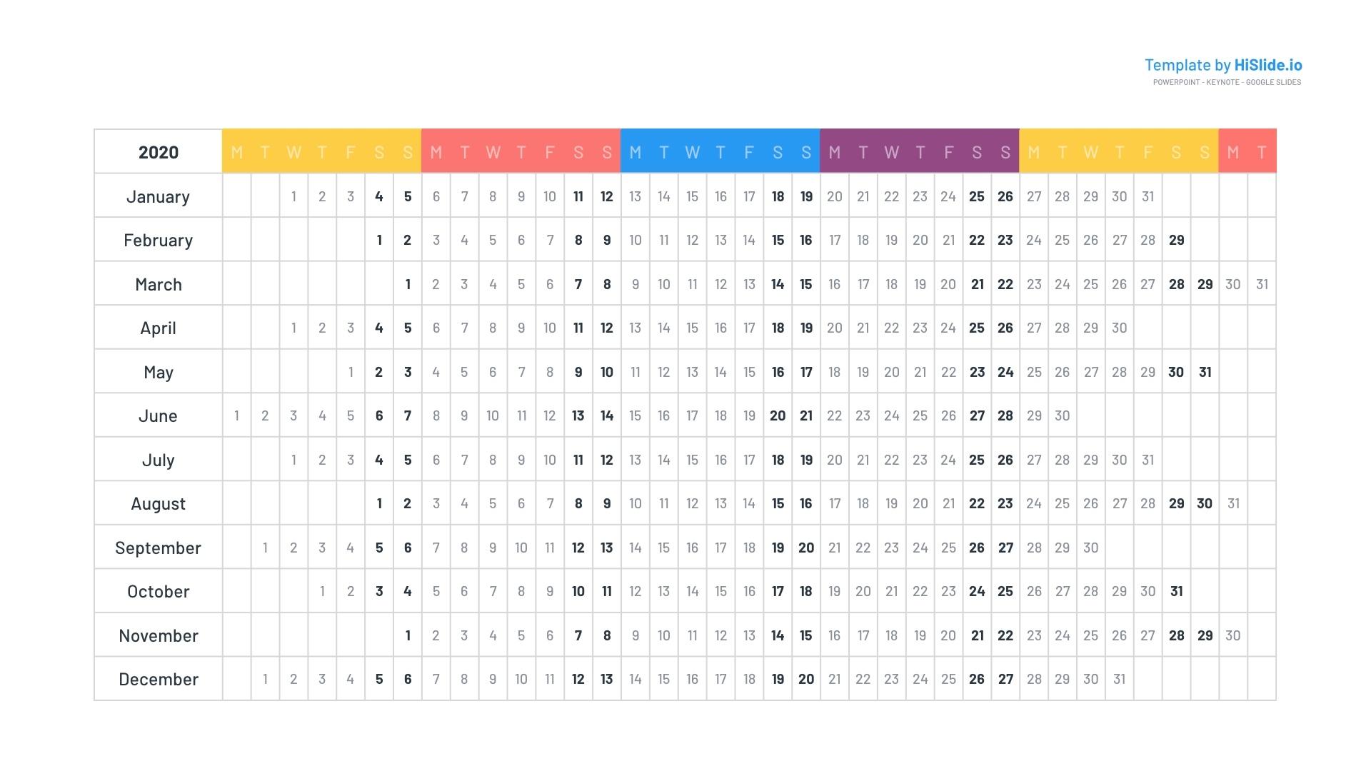 Calendar 2020 Keynote Template Free Free Keynote Calendar Template