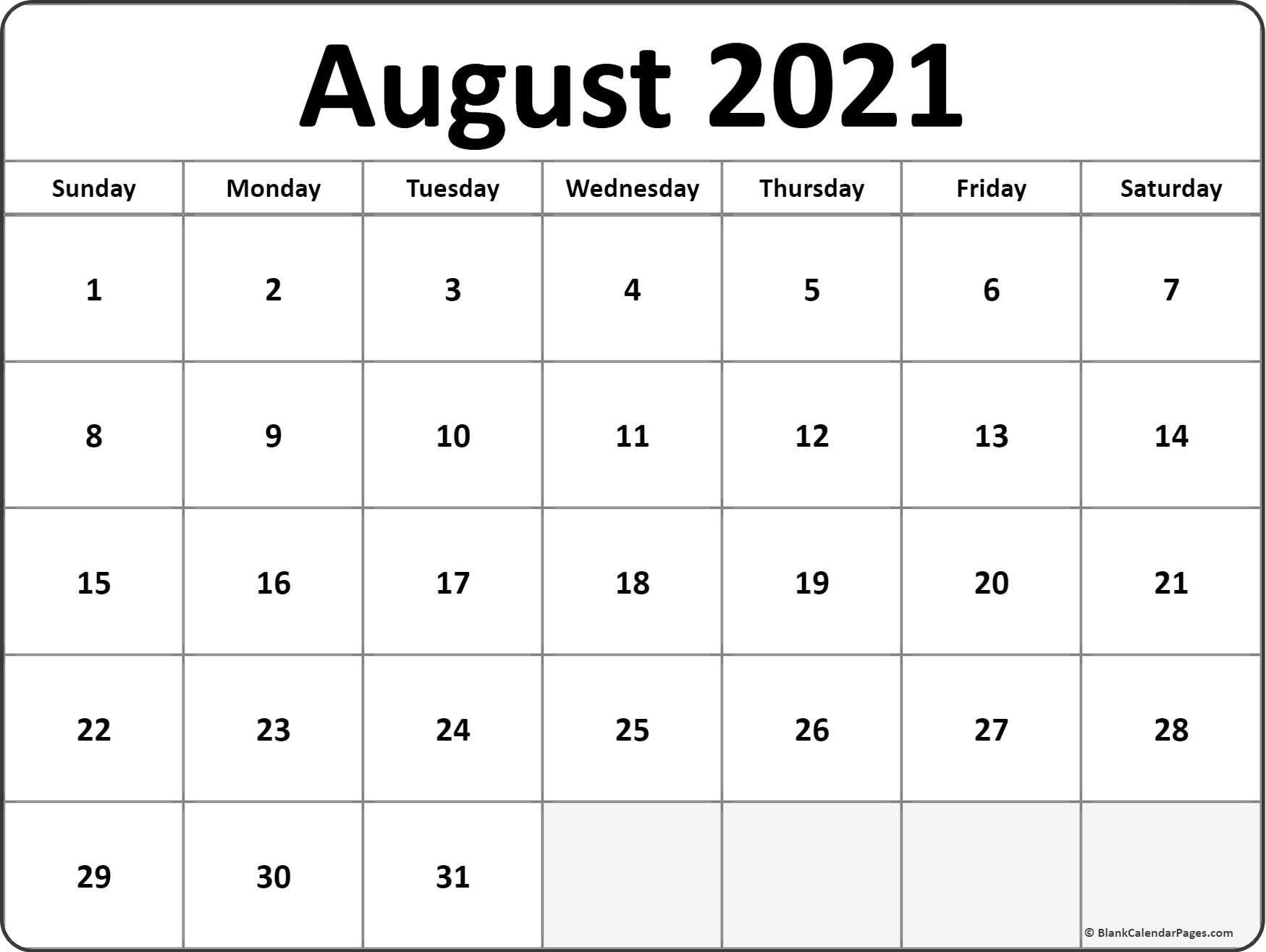 Calendar Monthly 2021 Printable August Full Page August 2021 Calendar Print