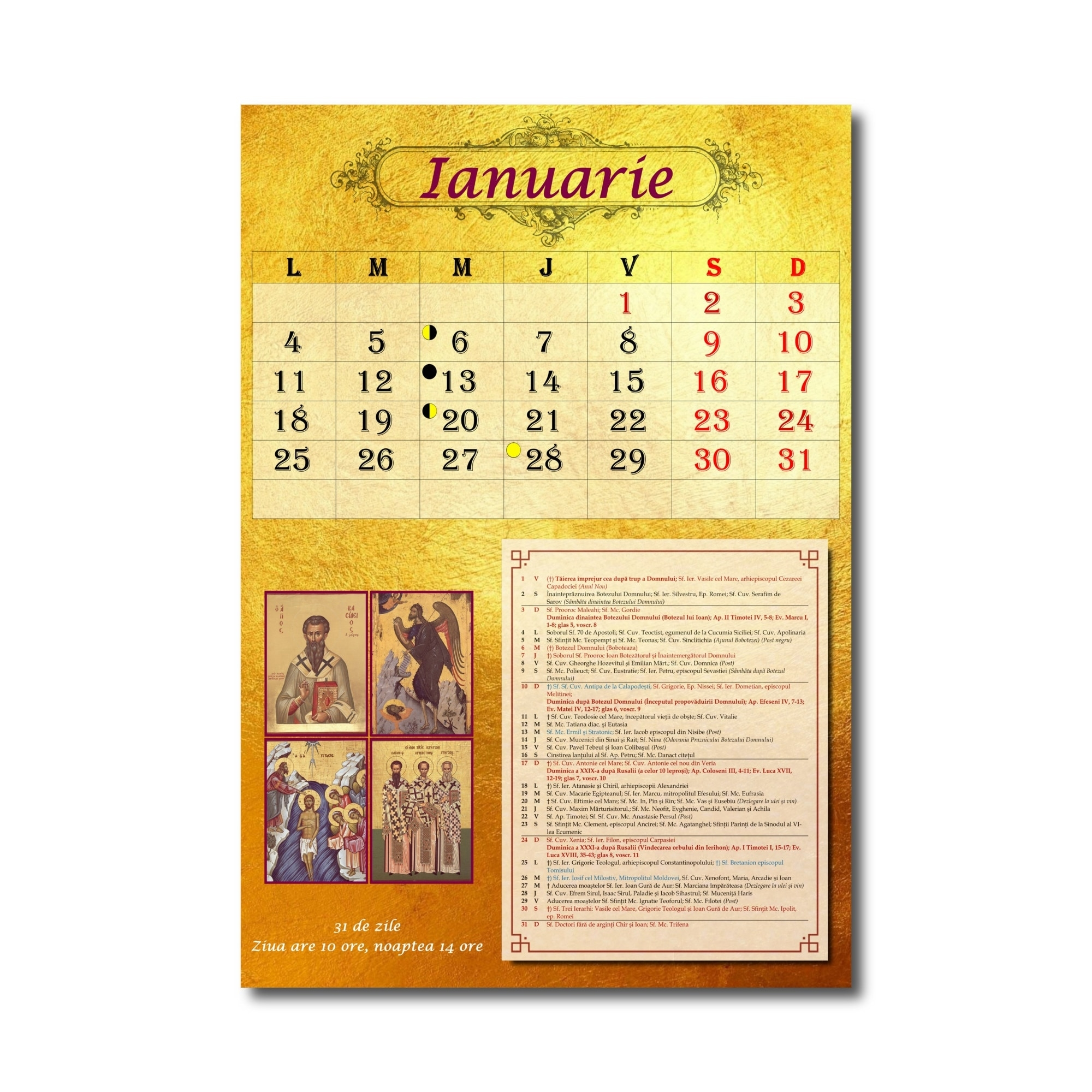 Calendar Ortodox Perete 2021, Format A3, Calendar Bisericesc Calendar Ortodox Mai 2021