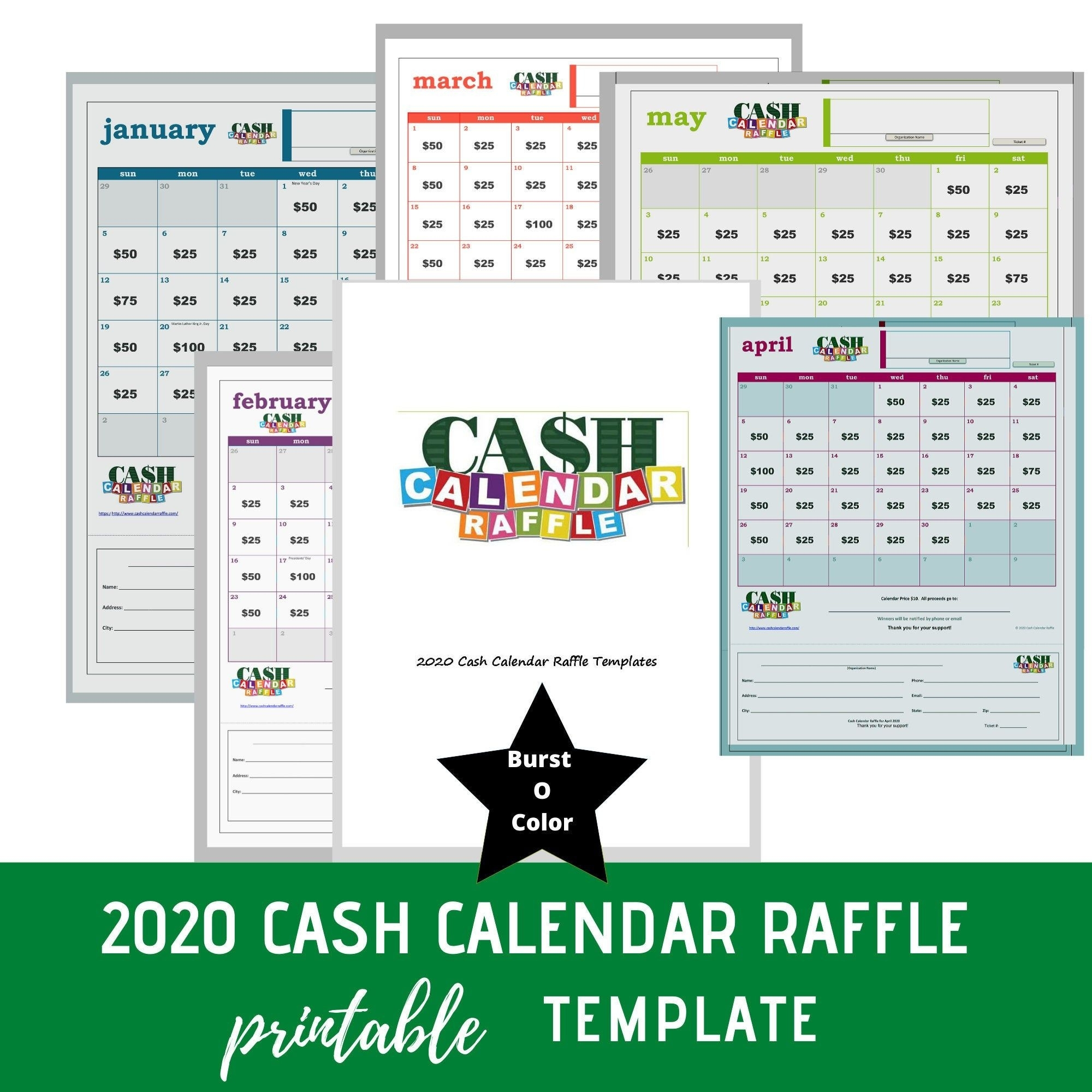 Cash Calendar Raffle Template (Burst O Color) In 2020 Free Calendar Raffle Template