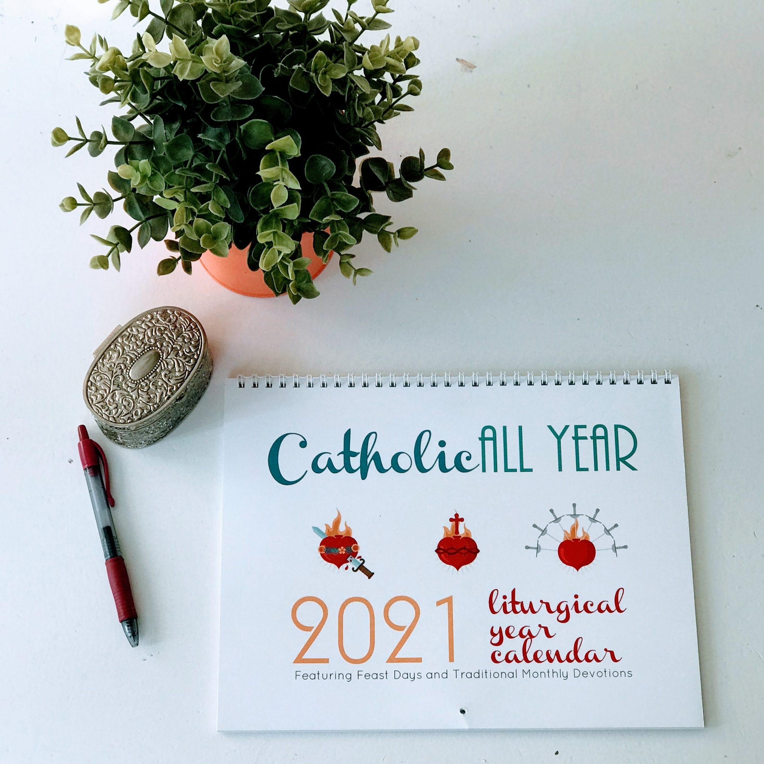 Catholic All Year 2021 Liturgical Calendar With Monthly Devotion Art  *Digital Download* Catholic Calendar 2021 Poster
