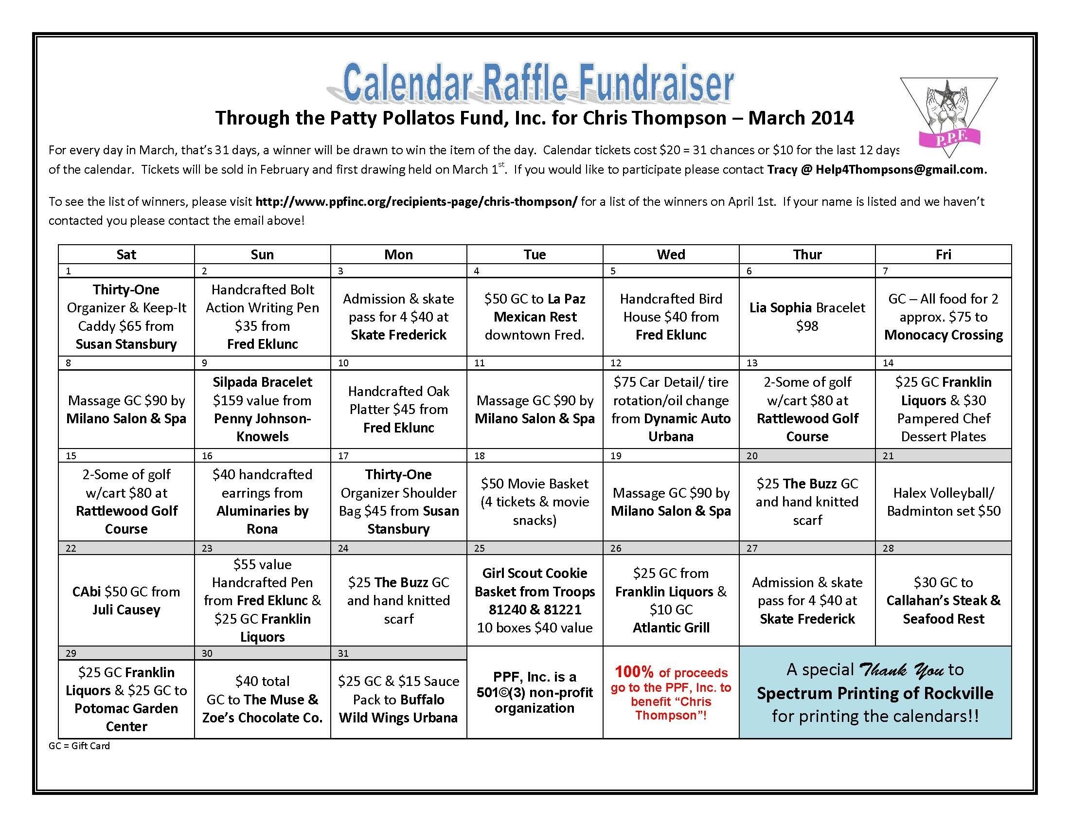 Chris Thompson Calendar Raffle - Patty Pollatos Fund Free Calendar Raffle Template