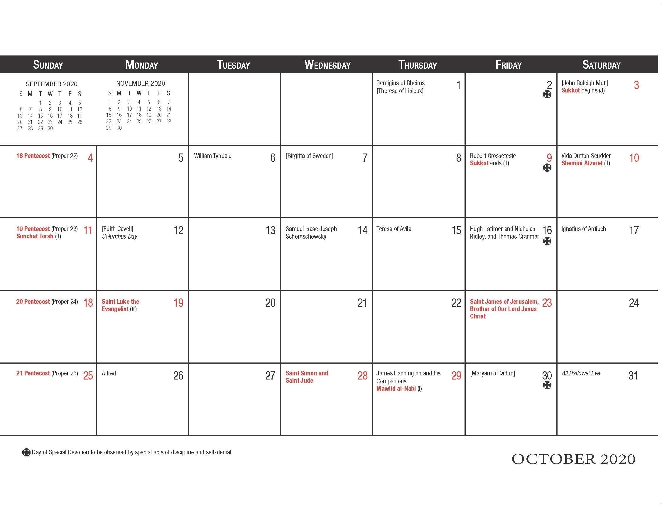 Churchpublishing: Christian Planning Calendar 2020 2021 Catholic Calendar 2021 Poster