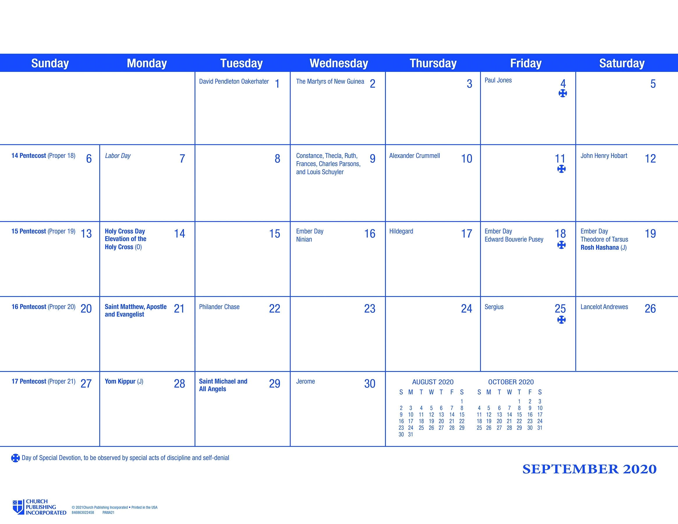 Churchpublishing: Parish Wall Calendar 2021 Catholic Calendar 2021 Poster