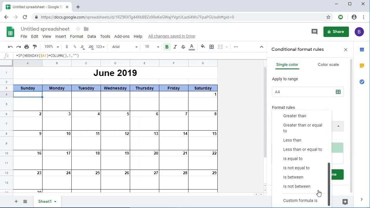 Creating A Dynamic Monthly Calendar In Google Sheets Calendar Template In Google Docs