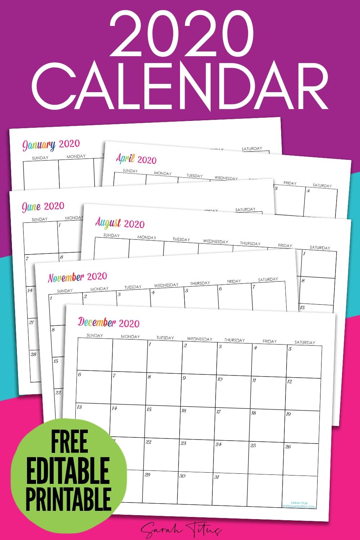Custom Editable 2020 Free Printable Calendars - Sarah Titus Calendar Template Editable Free
