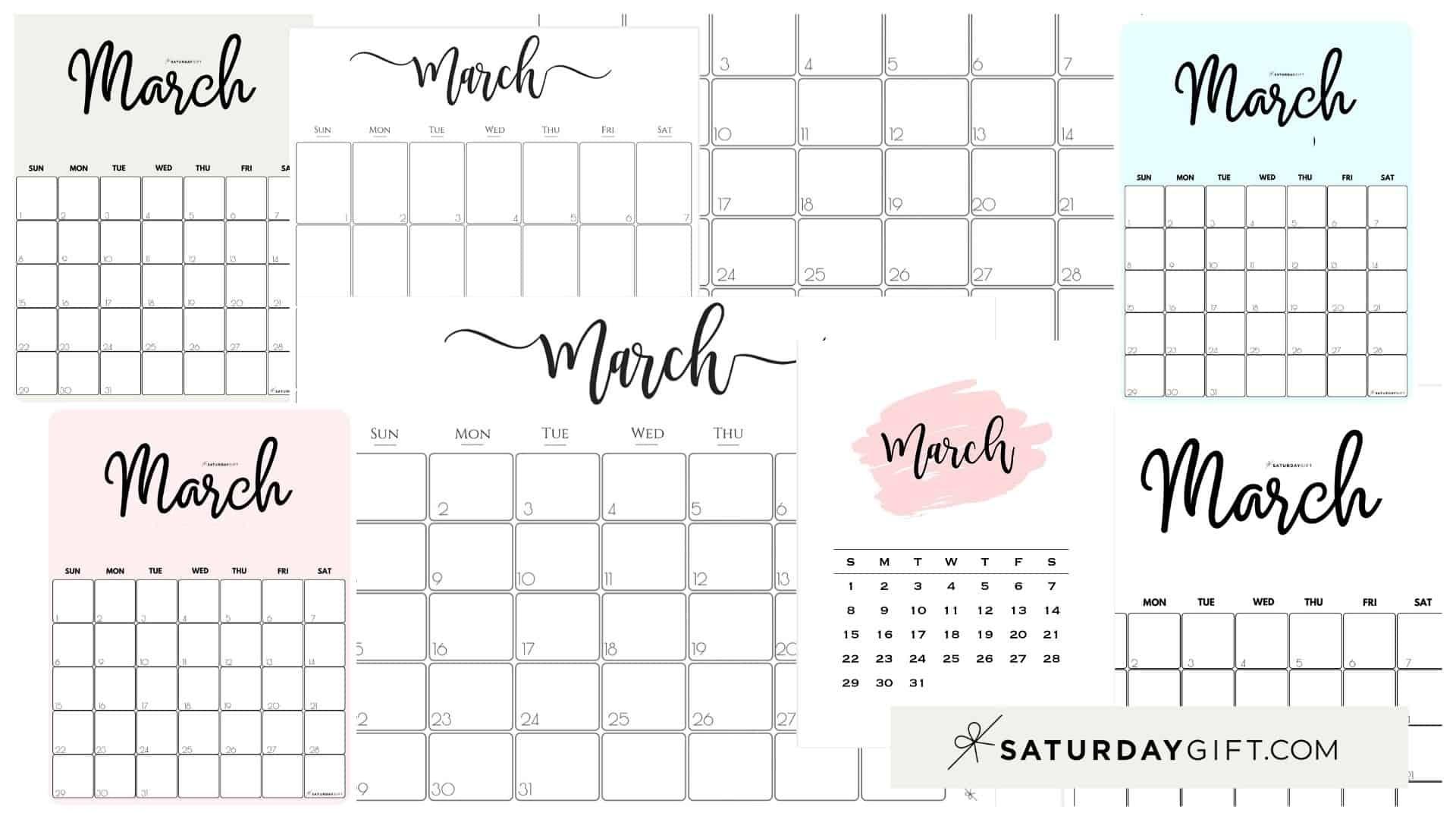 Cute (& Free!) Printable March 2021 Calendar   Saturdaygift Free Printable 3 Month Calendar 2021