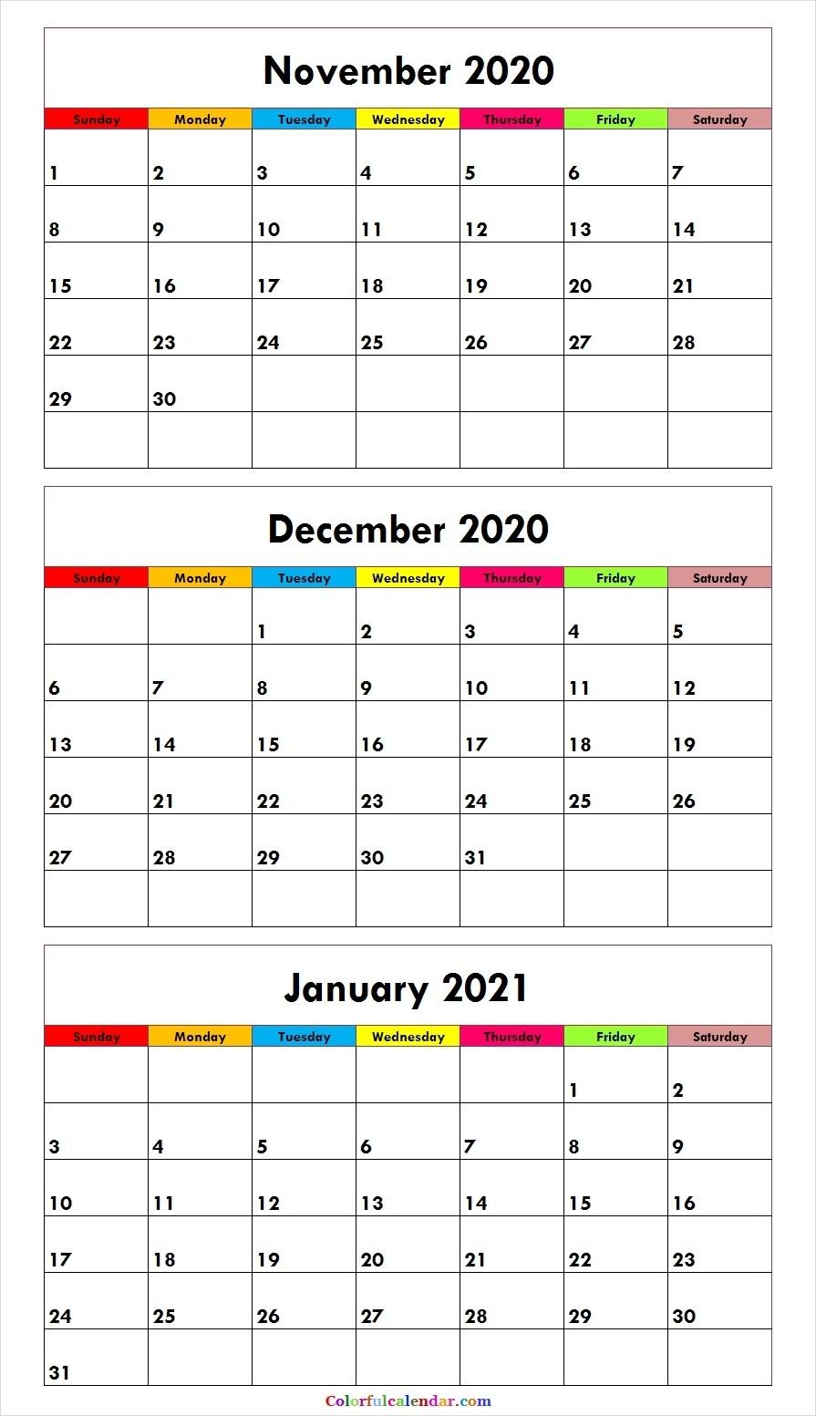 Cute November December 2020 January 2021 Calendar Template Free Printable 3 Month Calendar 2021