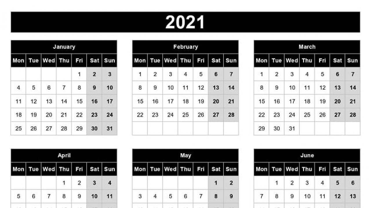 Download 2021 Yearly Calendar (Mon Start) Excel Template Excel Yearly Calendar 2021